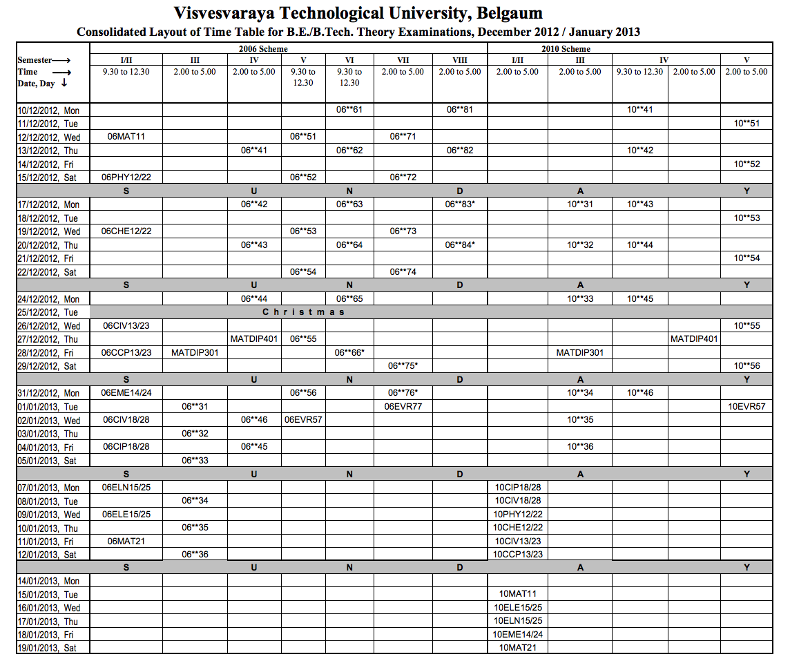 Time table cbcss i sem dec Custom paper Example - August 2019 - 1853