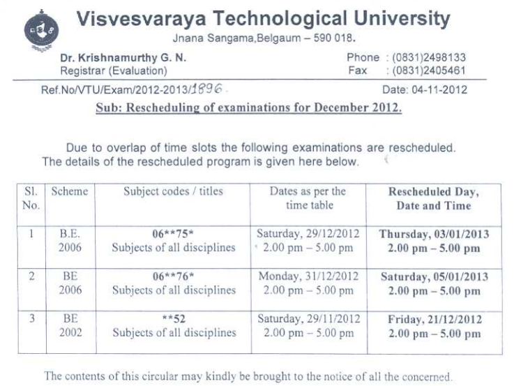 Vtu timetable 3rd 5th 7th sem dec 2012 book spar for Rgpv time table 6th sem 2015