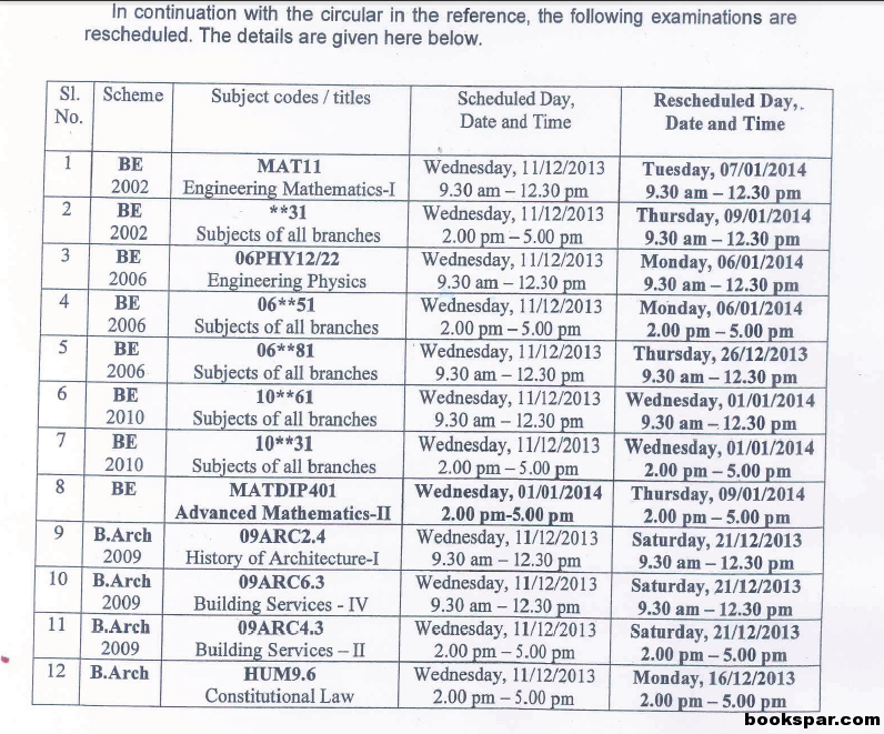 Vtu time table dec 2013 jan 2014 exam for 1st 2nd 3rd for 6th sem time table