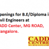 Wanted Civil Engineers B.E / Diploma Graduates for Cadd Center, MG Road, Mangalore